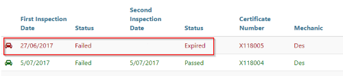 New expired status for an inspection